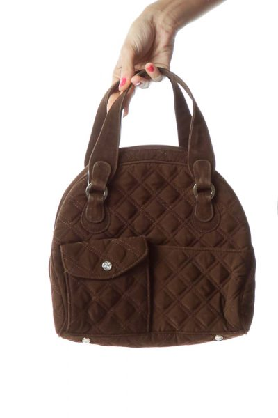 Brown Quilted Pocketed Satchel