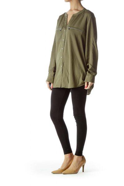 Green Collarless Shirt