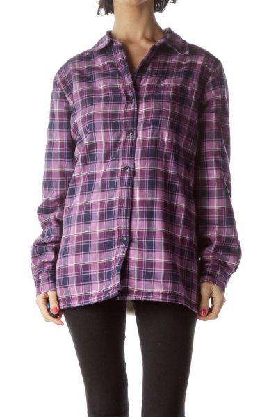 Purple Plaid Padded Jacket