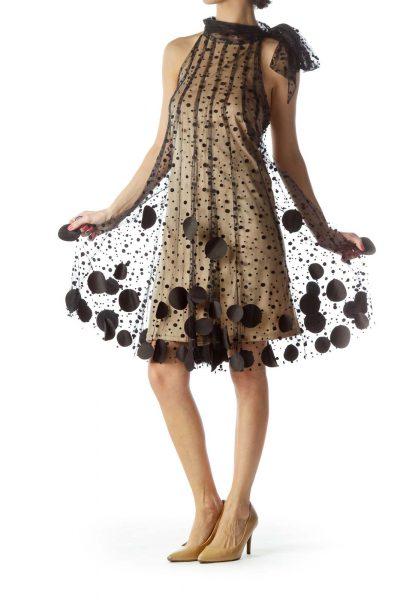 Black and Beige Mesh Halter Dress