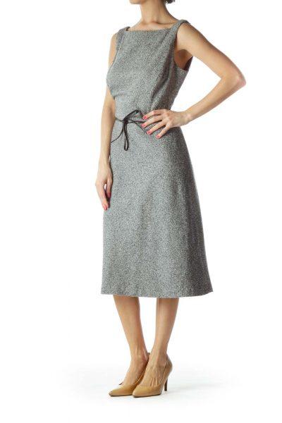 Black Knit Sleeveless Dress with Leather Belt