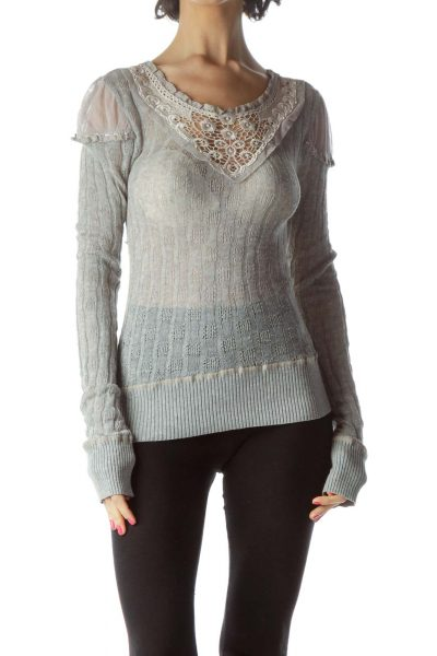 Gray Loose Knit Sweater with Lace