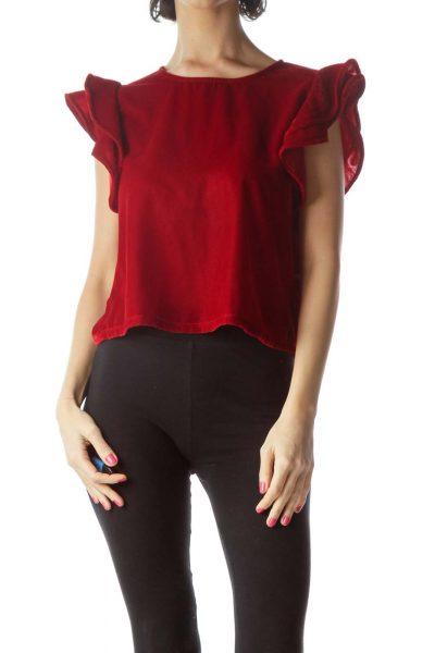 Red Ruffled Velvet Cropped Top