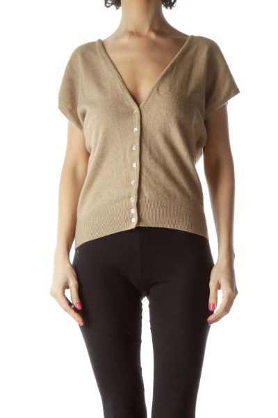 Brown Cashmere Short Sleeve Cardigan