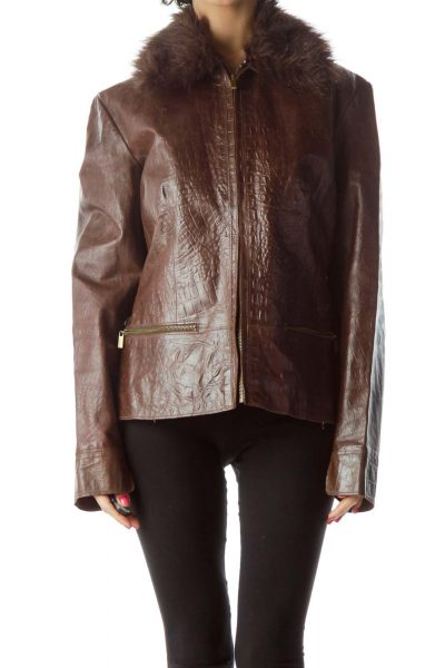 Brown Faux-Fur Collar Leather Jacket