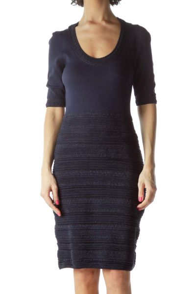 Navy Ribbed Knitted Dress