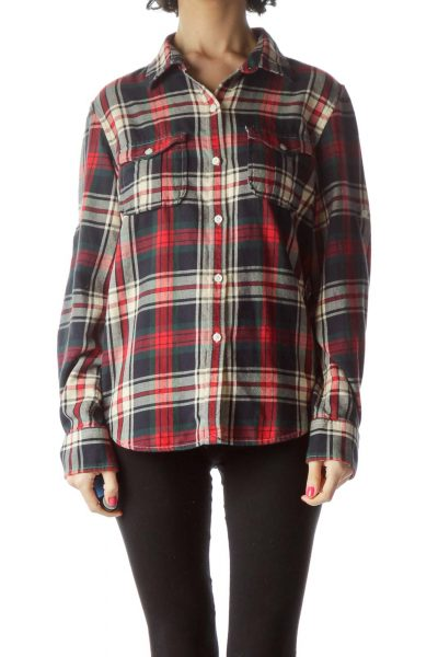 Red Navy Plaid Shirt