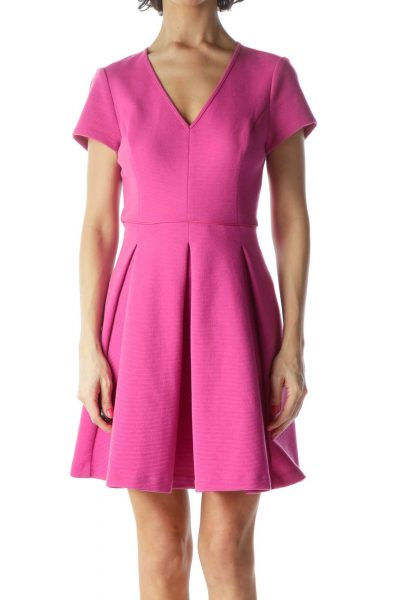 Pink V-Neck Flared Dress