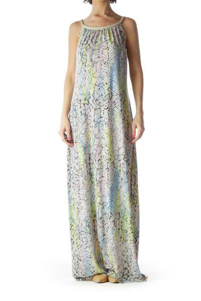 Blue Snake Skin Halter Maxi Dress