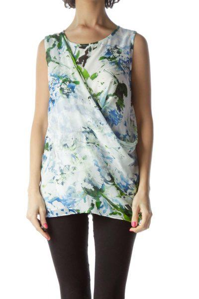 White Blue Printed Sleeveless Top