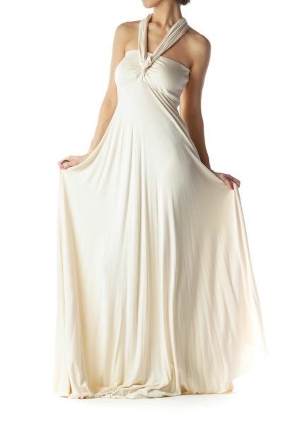 Beige Jersey-Knit Maxi Dress