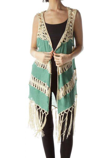 Beige Green Knit Vest