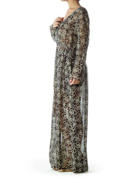Black Floral Sheer Maxi Dress