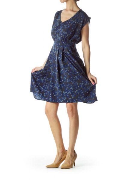 Blue Floral Sleeveless Dress