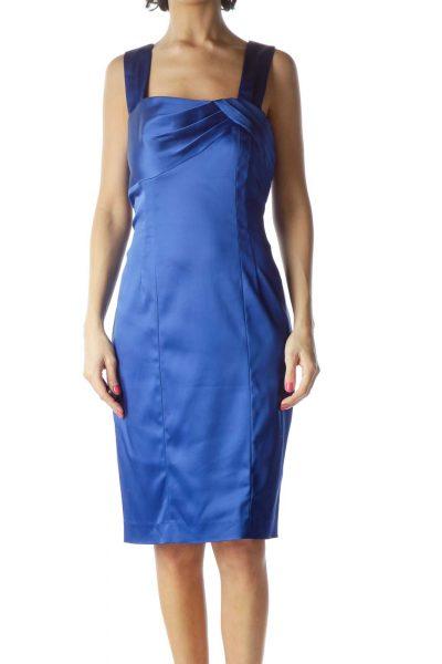 Blue Spaghetti Strap Cocktail Dress