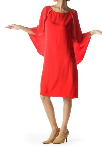 Red Shift Crepe Sleeve Dress