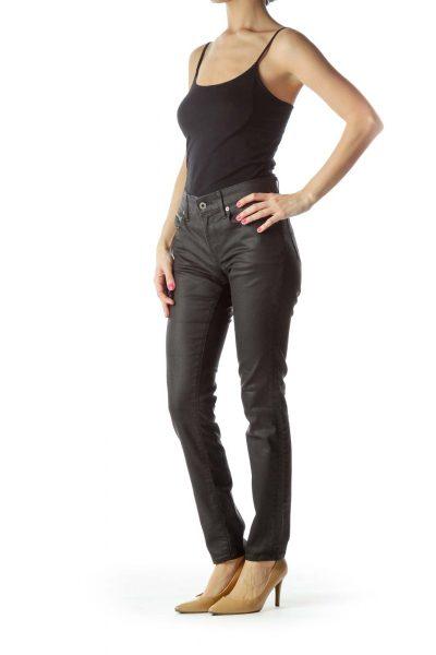 Black Denim Skinny Jeans with Zipper Pockets