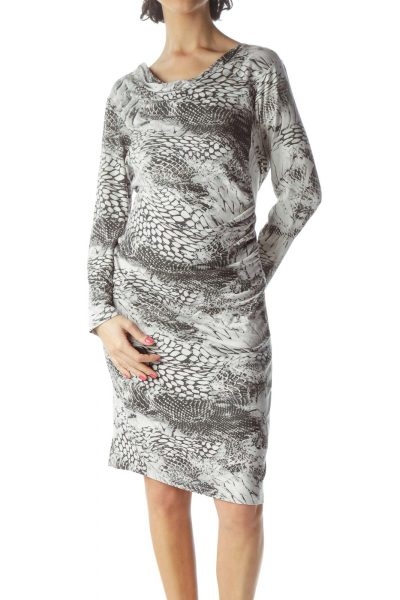 Grey Snake Pattern Fitted Work Dress
