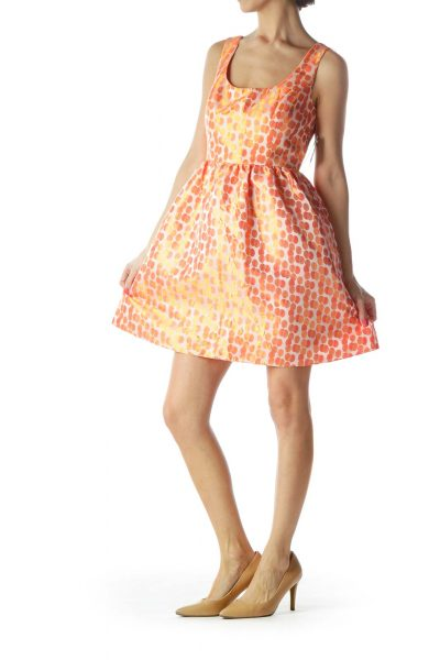 Orange Empire Waist Cocktail Dress