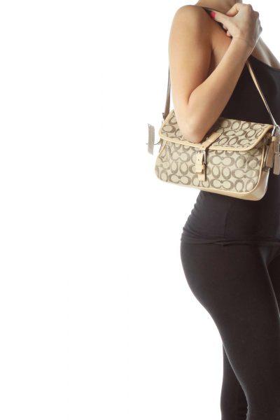 Beige Monogrammed Shoulder Bag
