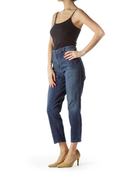 Navy Cropped Skinny Jeans