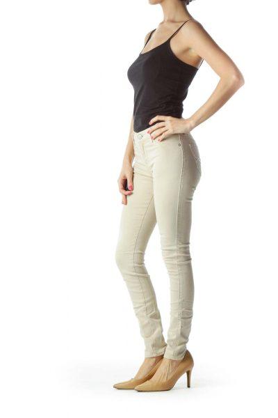 Beige Denim Skinny Jeans