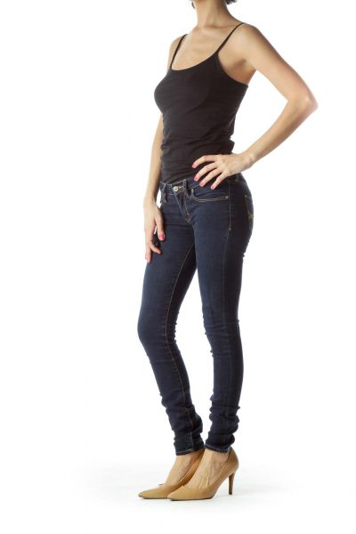 Navy Dark Washed Skinny Jeans