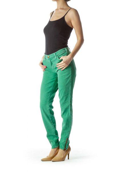 Green Skinny Zipper Ankle Jeans