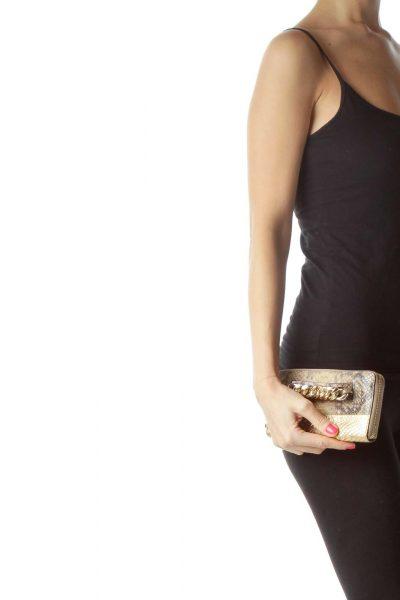 Gold Beige Snake Skin Wallet