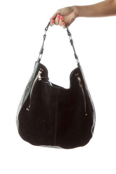 Black Gold Studded Suede Leather Bag