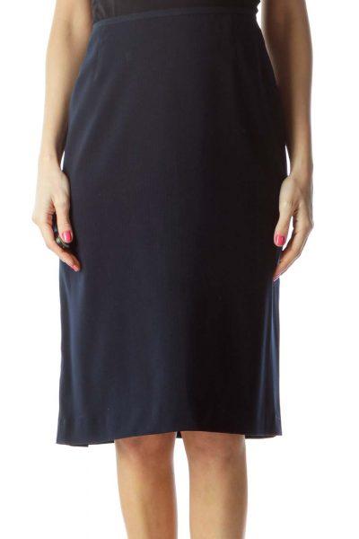 Navy Pleated Pencil Skirt