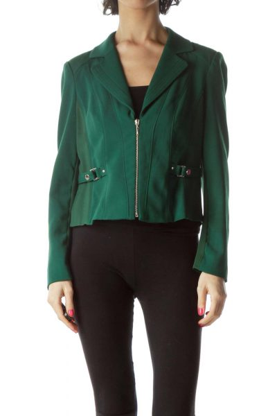 Green Zippered Fitted Jacket