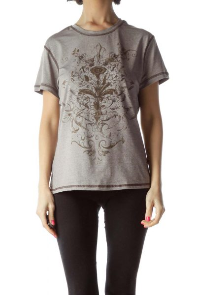 Brown Printed Sport Top