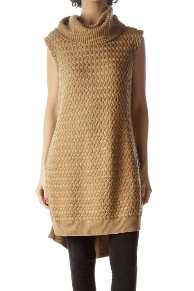 Brown Sleeveless Turtleneck Knit with Zipper Detail
