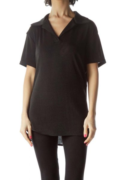 Black Shiny Collared Short Sleeve Top