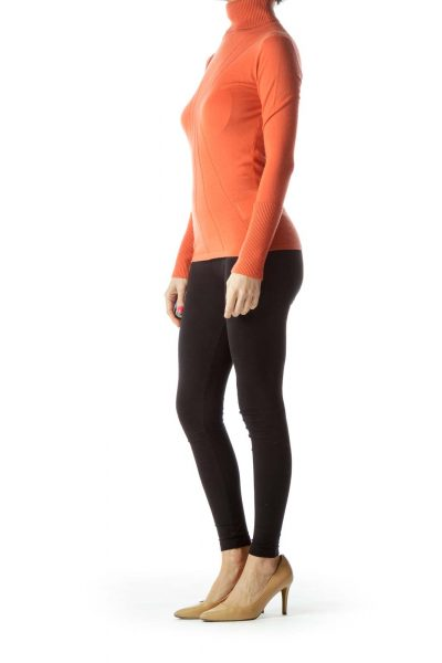 Orange Cashmere Turtleneck