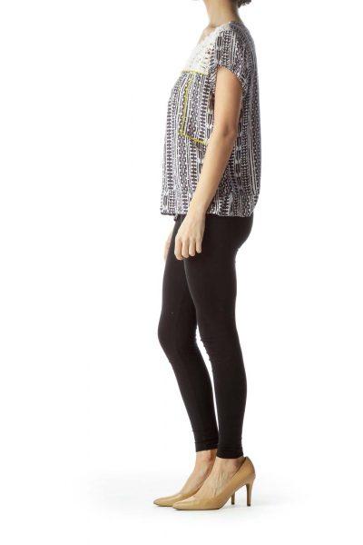 Black Printed Short Sleeve Top