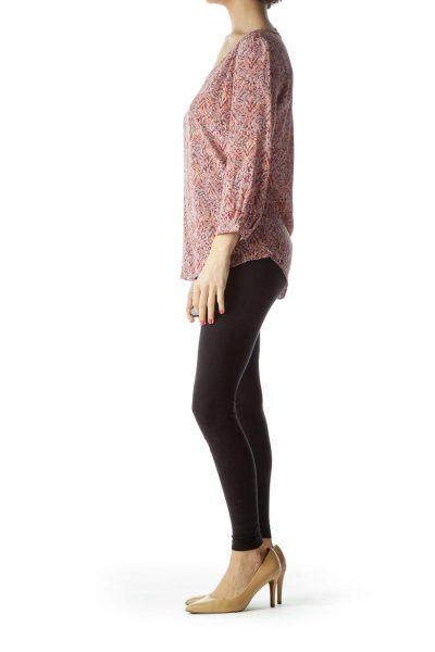 Pink Printed Silk Blouse