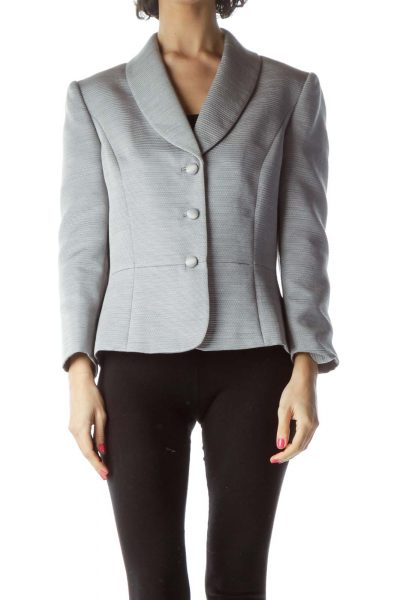 Silver Textured Suit Jacket