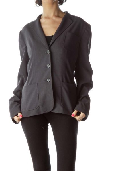 Gray Pocketed Suit Jacket