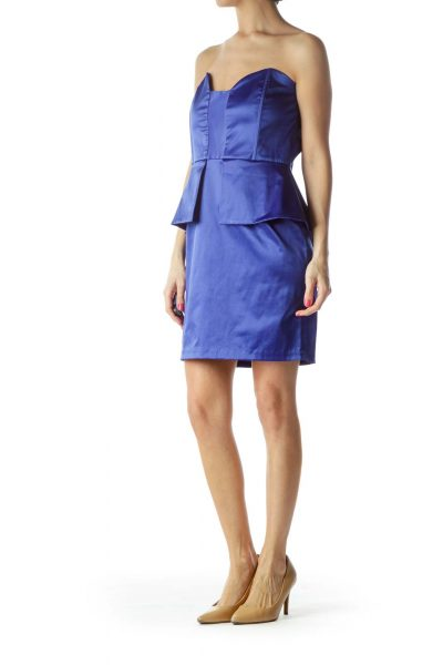 Blue Strapless Peplum Dress