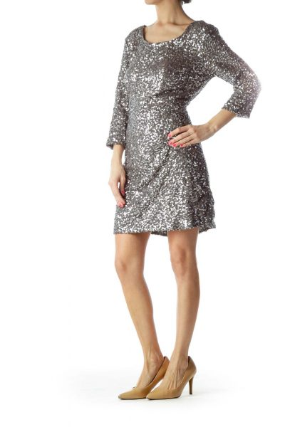 Silver Sequined Cocktail Dress