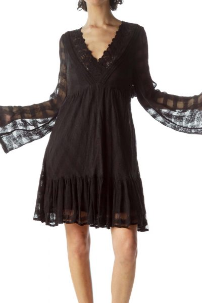 Black Sheer Lace Detail Day Dress
