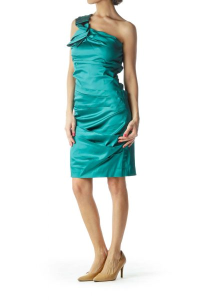 Turquoise One-Shoulder Ruffled Cocktail Dress