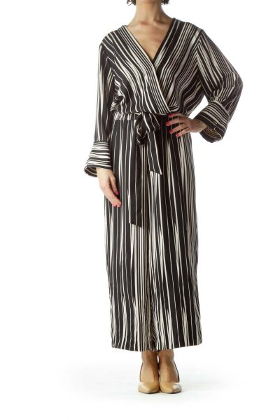 Black Striped V-Neck Jumpsuit