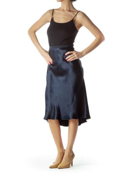 Navy Silk Flared Skirt