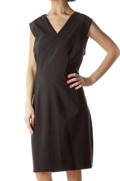 Black Wool V-Neck Dress
