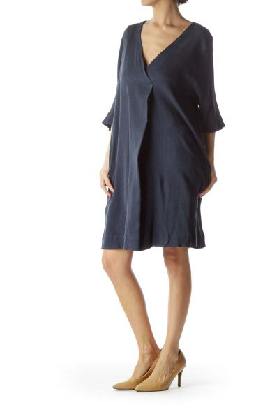 Navy V-Neck Day Dress