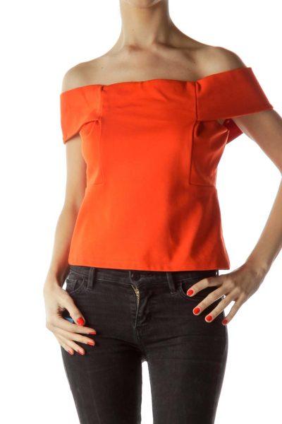 Orange Cold-Shoulder Short Top ... 7ef25470ca