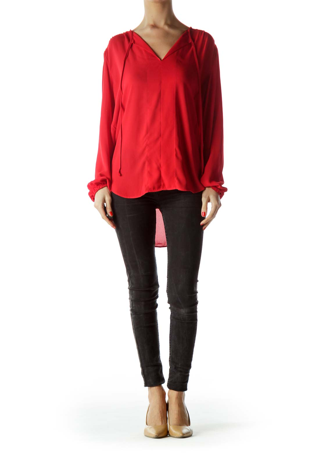 Red V-Neck Long Sleeve Blouse
